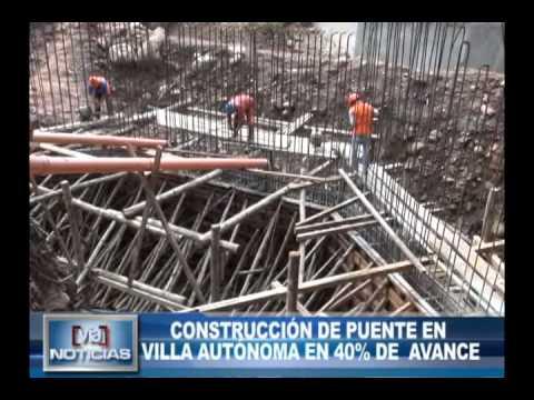 Construcción de puente en villa autónoma en 40 por ciento de avance
