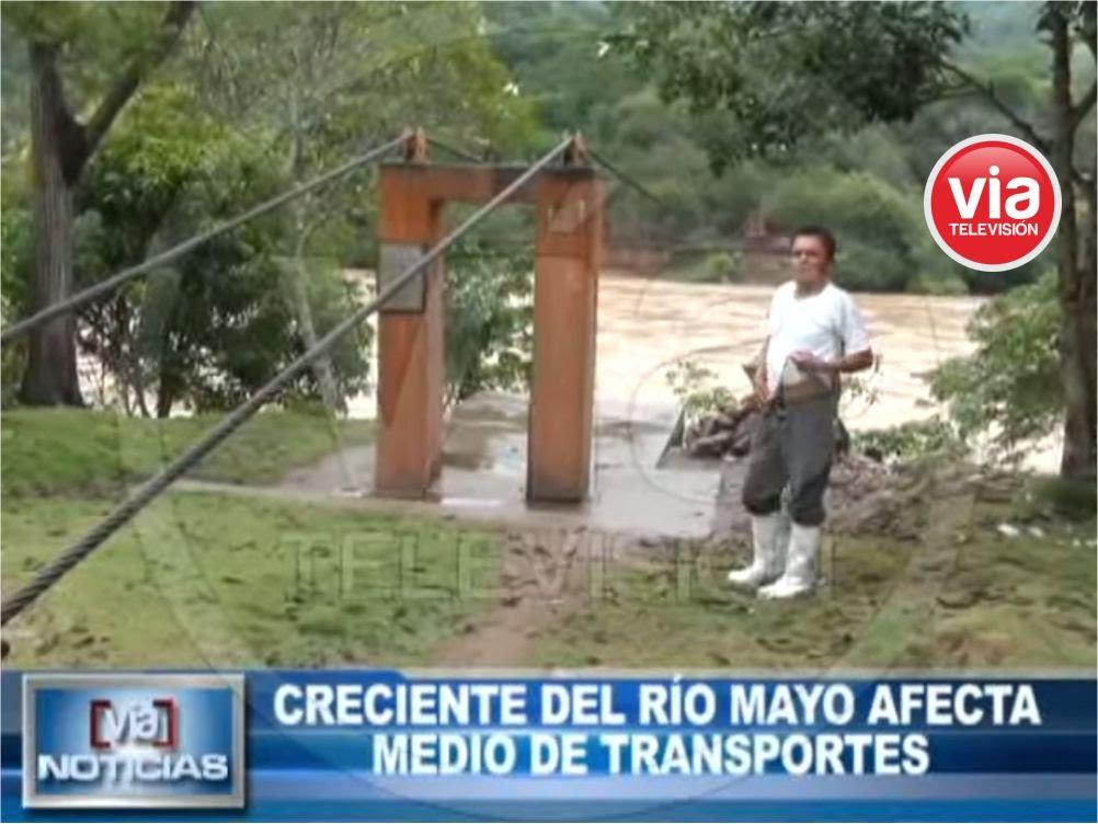 Creciente del río Mayo afecta medio de transportes de pobladores