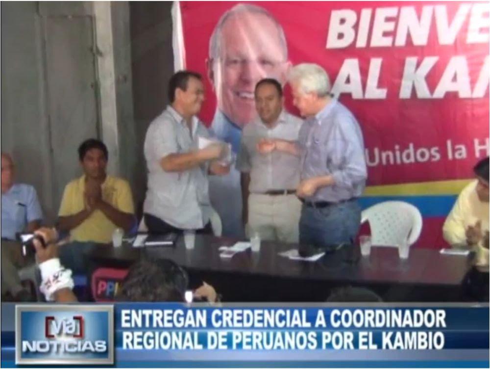 Entregan credencial a coordinador regional de Peruanos por el Kambio