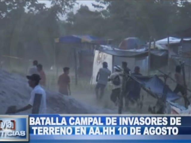 Batalla campal de invasores de terreno en AA.VV 10 de Agosto
