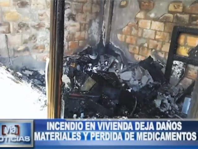 Incendio en vivienda deja daños materiales y pérdidas de medicamentos