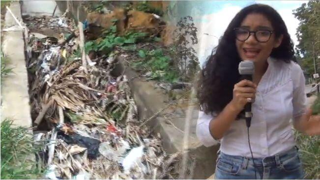Cuneta obstruida por desperdicios en el Jr Capirona de Tarapoto
