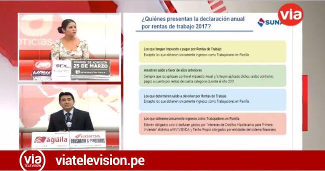 Sunat: Declaración Anual de Rentas de Trabajo 2017