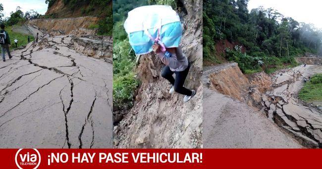 Urgente: Carretera Fernando Belaúnde se hunde entre Juanjuí y Tocache