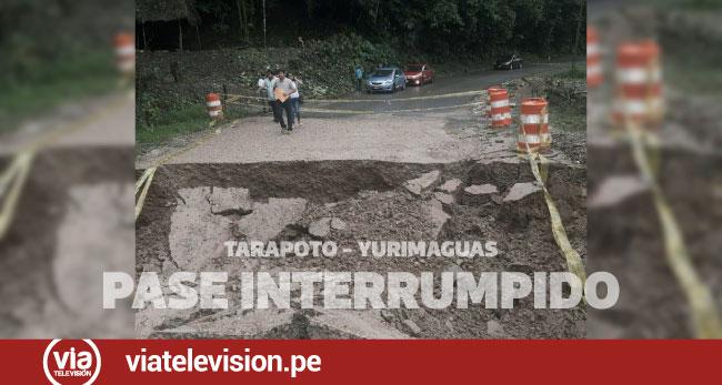 Carretera Tarapoto – Yurimaguas con pase interrumpido por activación de quebrada