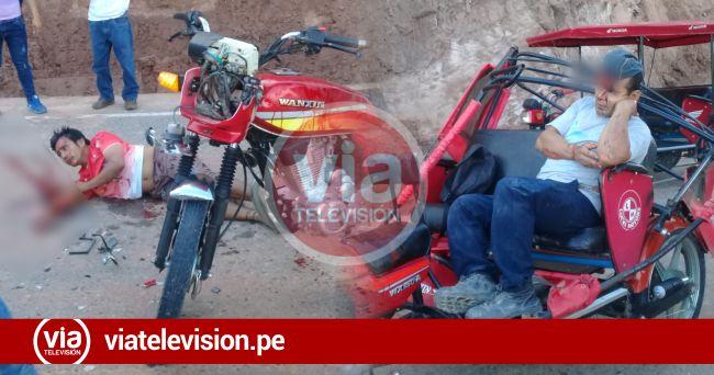 Conductor y pasajero de mototaxi heridos tras chocar violentamente contra camión