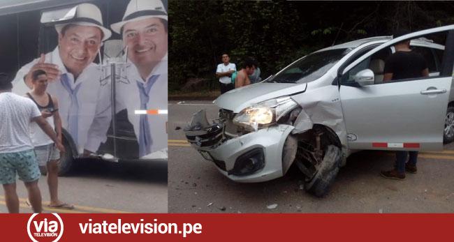 Triple choque entre auto, cisterna y ómnibus deja daños materiales
