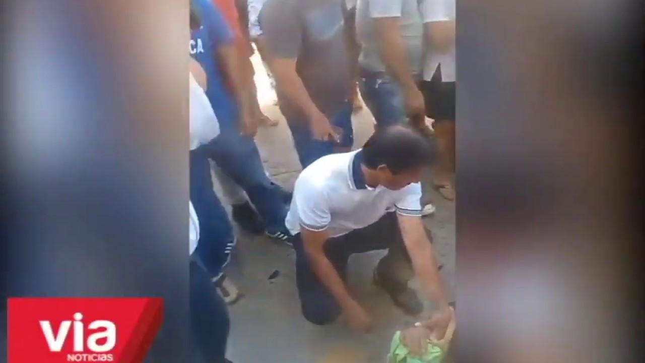 Accidente de tránsito frente a la plaza Mayor de Tarapoto deja un herido