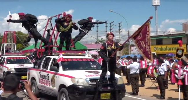 Tarapoto: unidades motorizadas dieron realce a desfile cívico militar