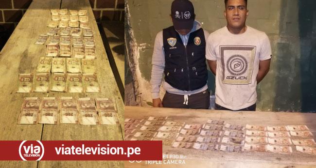 Morales: capturan a sujeto con 2 mil 670 soles, aparentemente falsificados