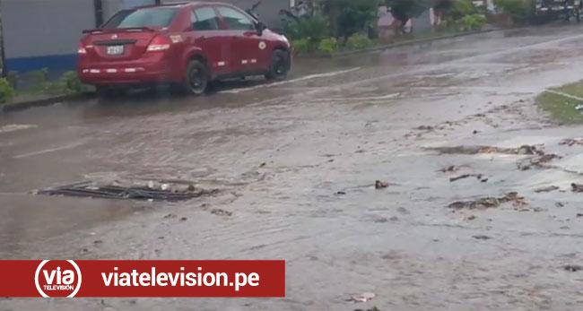 Colapso de sistema de drenaje pluvial  inunda calles céntricas del distrito bandino