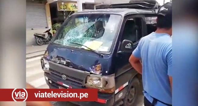 Estudiante resulta herida tras choque de mototaxi y combi