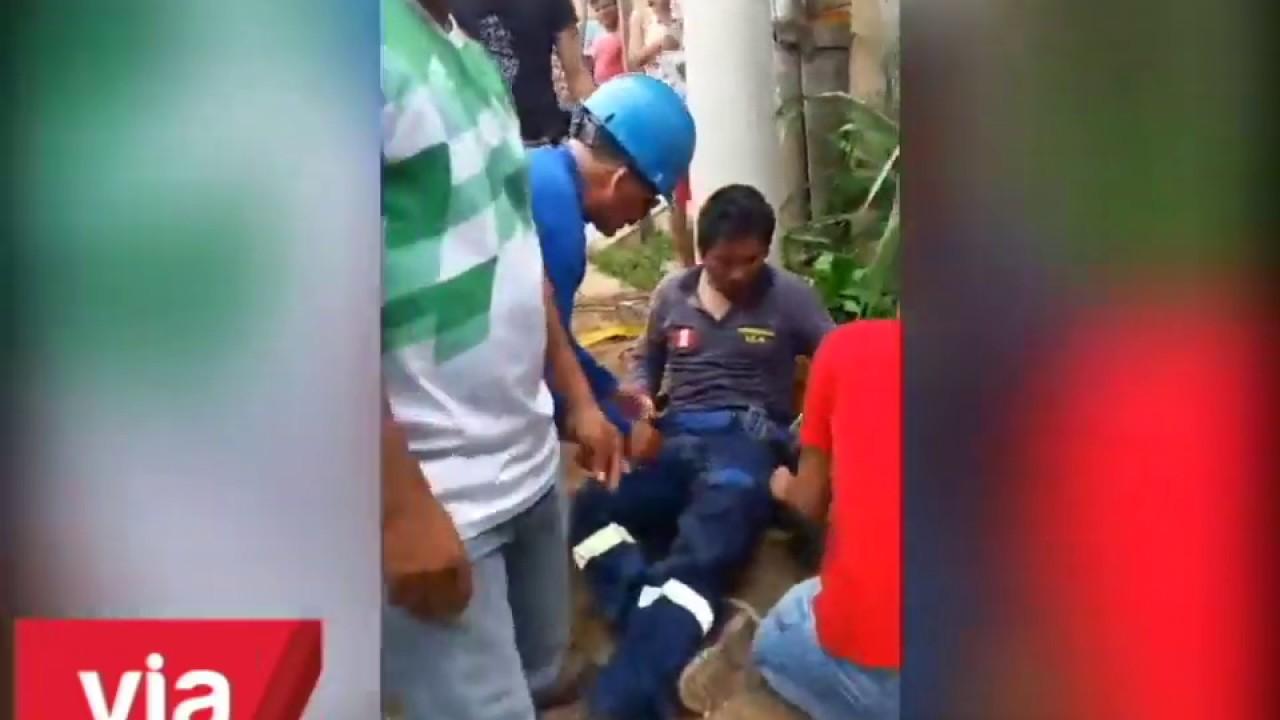 Trabajador de empresa eléctrica resulta herido al caer de poste