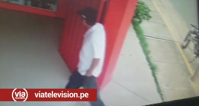 Cámaras de video captan preciso instante cuando un delincuente asalta una botica