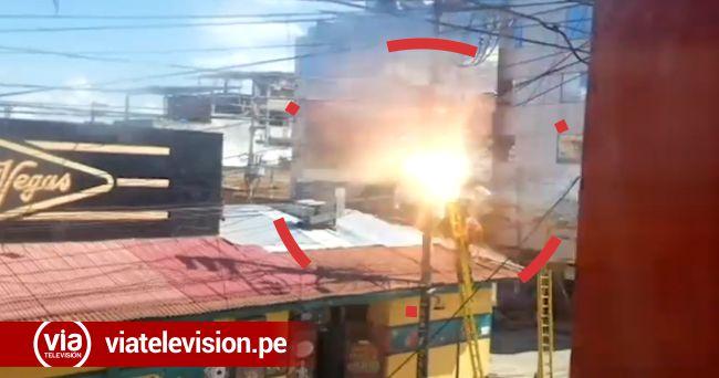 Tarapoto: cortocircuito causa alarma en la cuadra tres del jirón Jiménez Pimentel