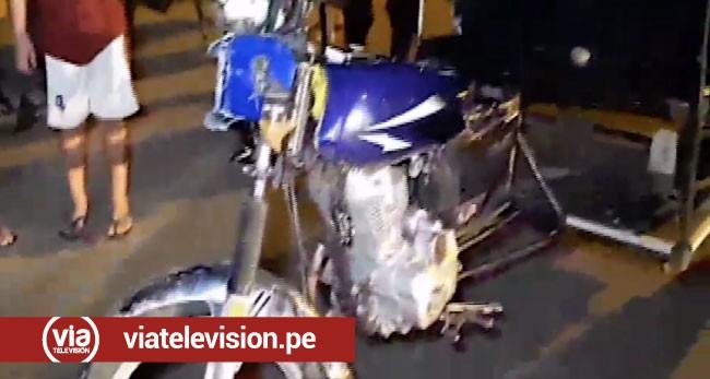 Tarapoto: mototaxi choca contra camioneta de serenazgo
