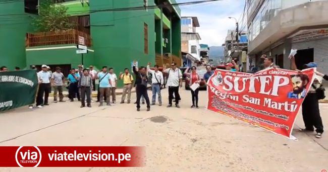 Tarapoto: profesores agremiados al SUTEP realizaron plantones