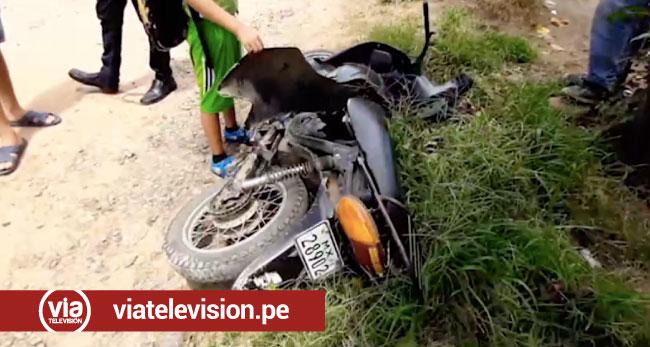 Tarapoto: volquete choca contra motocicleta y conductor resulta herido
