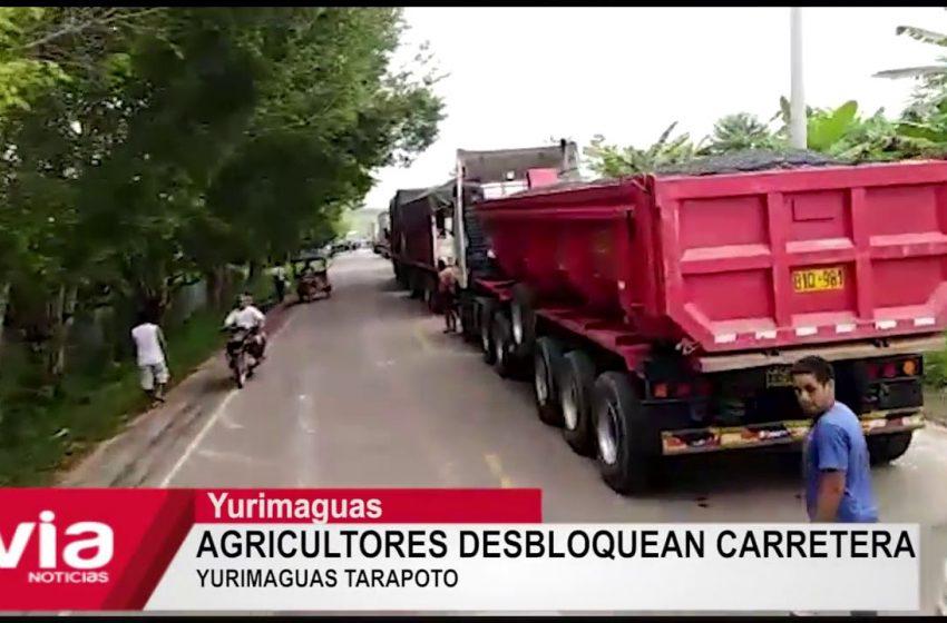 Agricultores desbloquean carretera Yurimaguas Tarapoto