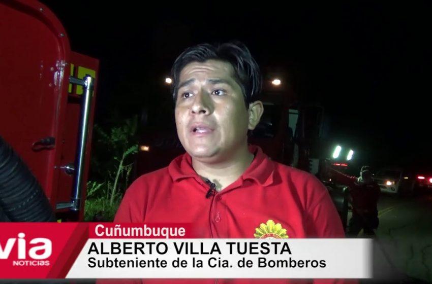 Camión cargado con madera se incendia en carretera a Cuñumbuque