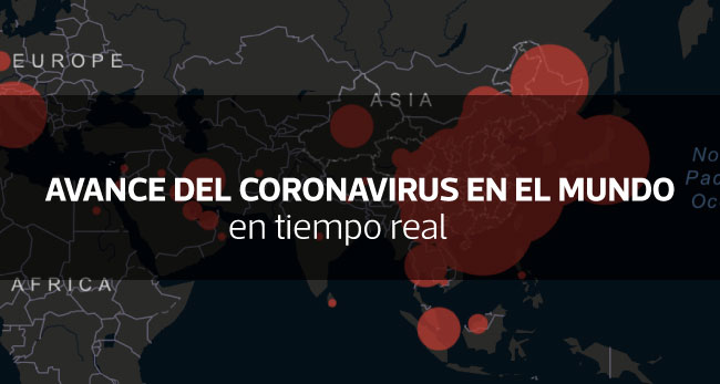 Mapa en tiempo real del avance del coronavirus en el mundo