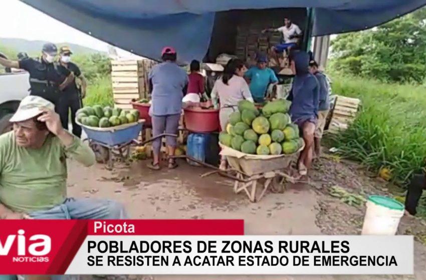 Picota: pobladores de zonas rurales se resisten acatar estado de emergencia