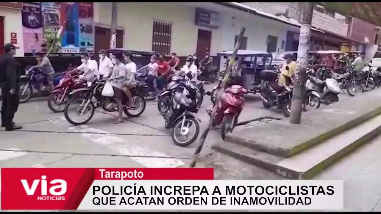 Policía increpa a motociclistas que acatan orden de inamovilidad