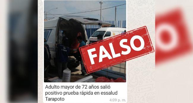 Es FALSO que paciente positivo de COVID-19 está en Hospital EsSalud Tarapoto