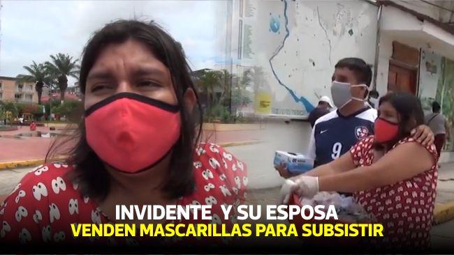 Tarapoto: invidente recorre las calles de la ciudad vendiendo mascarillas