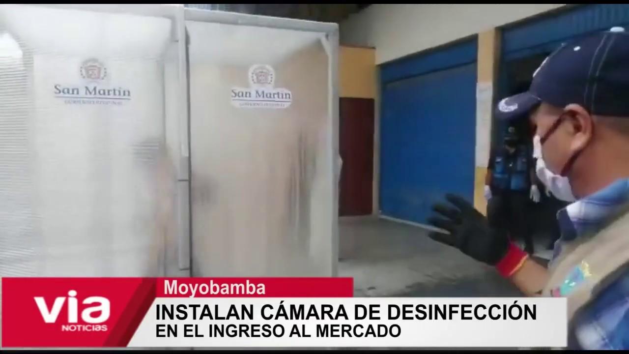 Moyobamba: instalan cámara de desinfección en el ingreso de mercado