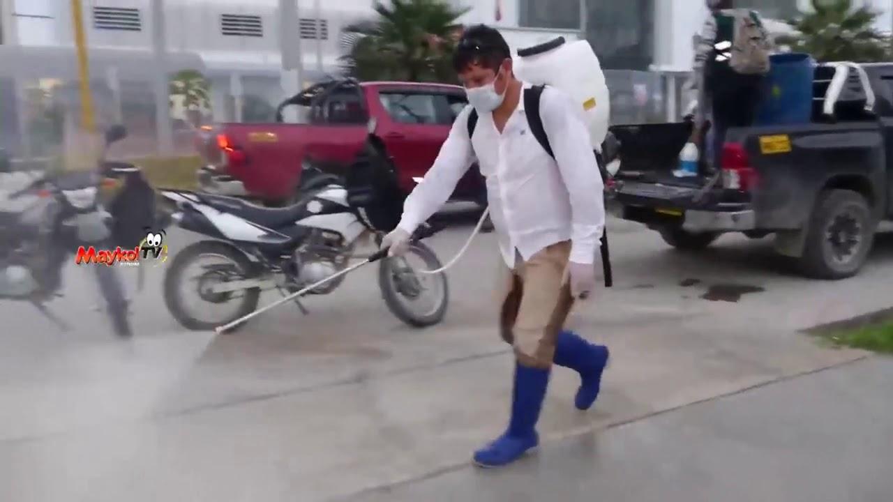 Tocache: desinfectan calles para evitar contagio de coronavirus