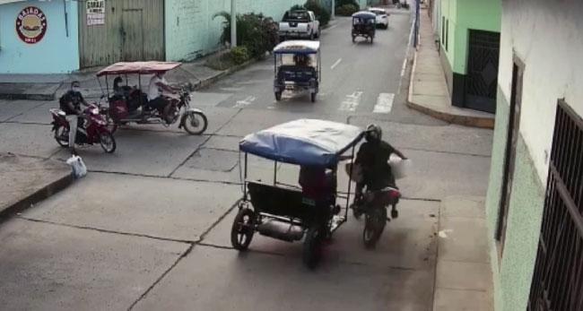 Tarapoto: choque de motocicleta y trimovil deja un herido