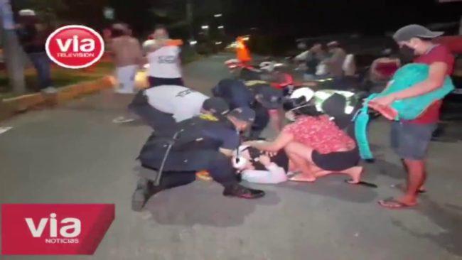 Tarapoto: choque de moto y auto deja dos personas heridas