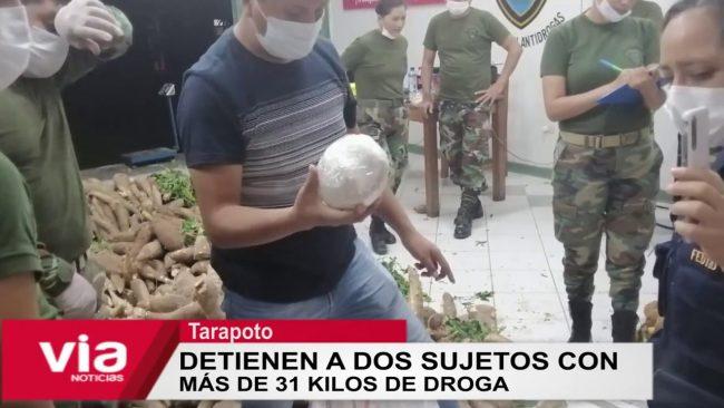 Tarapoto: detienen a dos sujetos con  más de 31 kilos de droga
