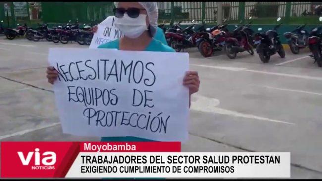 Moyobamba: sector salud protesta exigiendo cumplimiento de compromiso