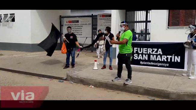 Tarapoto: protesta exigiendo abastecimiento de oxígeno a los hospitales de MINSA y EsSalud