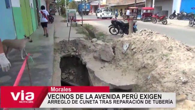 Vecinos de la Av. Perú exigen arregla de cuneta tras reparación de tubería