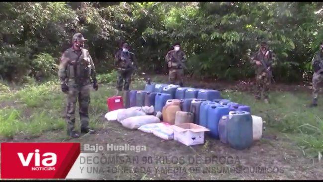 Decomisan 90 kilos de droga y una tonelada y media de insumos químicos