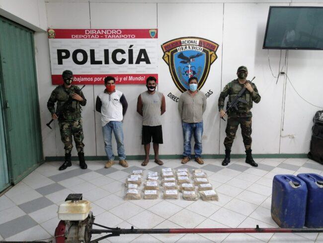 PNP captura a tres sujetos que transportaban 40 kg de alcaloide de cocaína