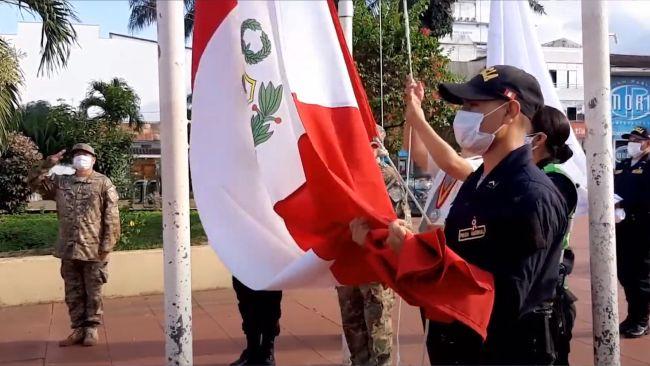 Tarapoto: debido a la pandemia solo izaron el Pabellón Nacional por fiestas patrias