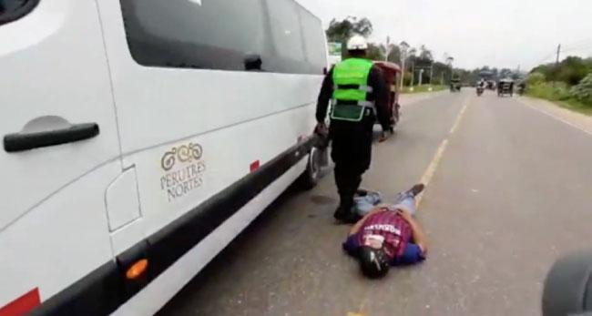 PNP: conductor de moto lineal resulta mal herido tras despistarse