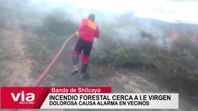 Incendio forestal cerca a I.E Virgen Dolorosa causa alarma en vecinos