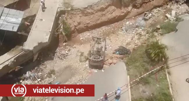 Tarapoto: vehículo con 7 pasajeros cae a  zanja en la vía de evitamiento