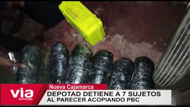 Depotad detiene a 7 sujetos al parecer acopiando PBC en Nueva Cajamarca