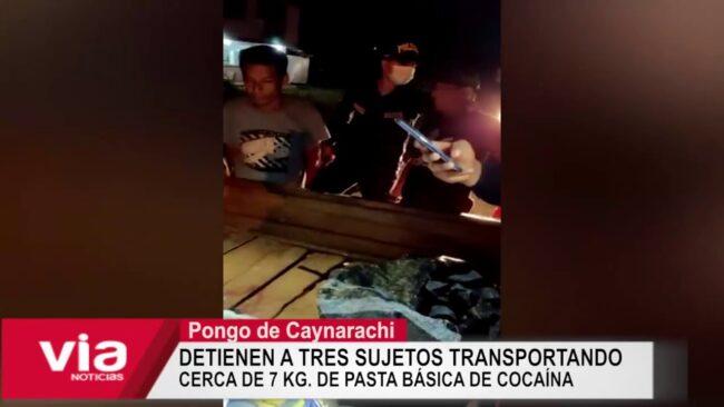 Detienen a tres sujetos transportando cerca de 7 kg. de pasta básica de cocaína
