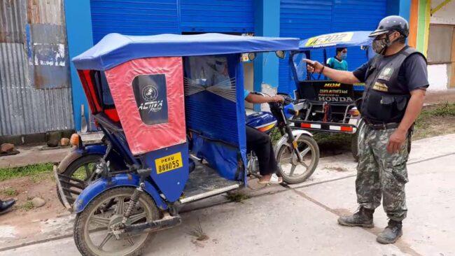 Intervienen trimóviles por  falta de habilitación vehicular en La Banda de Shilcayo