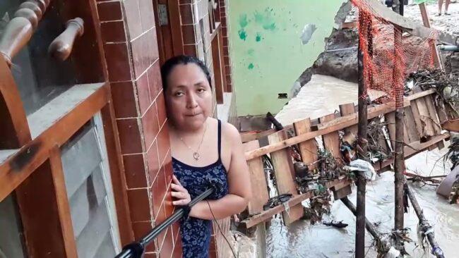 Morales: inundación de viviendas por desborde de quebrada Amorarca