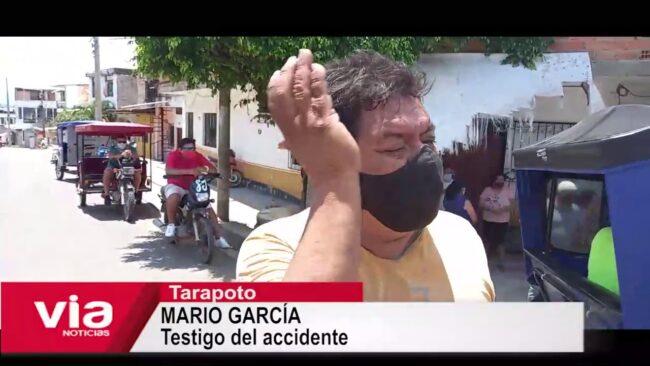 Tarapoto: motociclista resulta herido tras despistarse en el jirón España