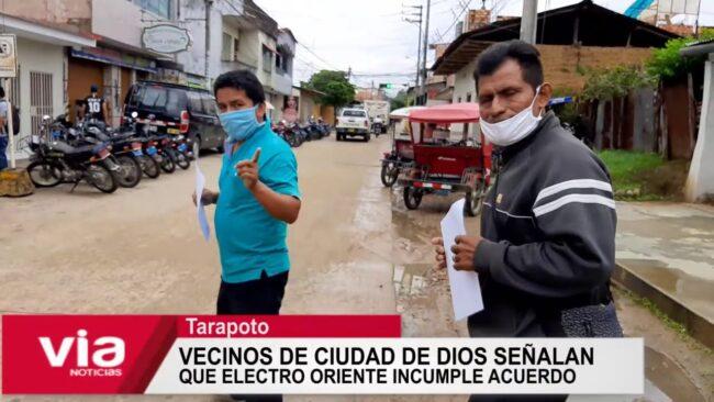Vecinos de Ciudad de Dios señalan que Electro Oriente incumple acuerdo