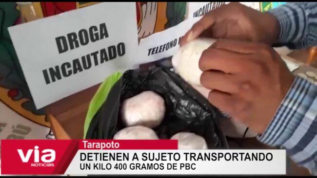 Morales: detienen a sujeto transportando un kilo 400 gramos de PBC